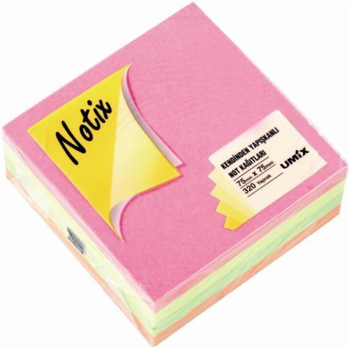 Notix Neon 4 Renk Küp 320 Yp. 75x75 mm Yapışkanlı Not Kağıdı (N-4R-7575)
