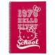 Hello Kitty A5 Çizgili Spiralli Okul Defteri 96 Yaprak
