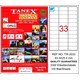 Tanex TW-2033 63,5x25,4 mm Laser Etiket 100 Ad.