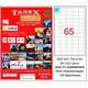 Tanex TW-2165 38,1x21,2 mm Laser Etiket 100 Ad.