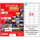 Tanex TW-2324 70x35 mm Laser Etiket 100 Ad.