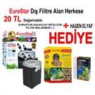 Eurostar Dıs Filtre 1000 Lt/H 22W + Eurostar Aquaclay Biyolojik Filtre Malzemesi 1 L + Hagen Elyaf Hediye