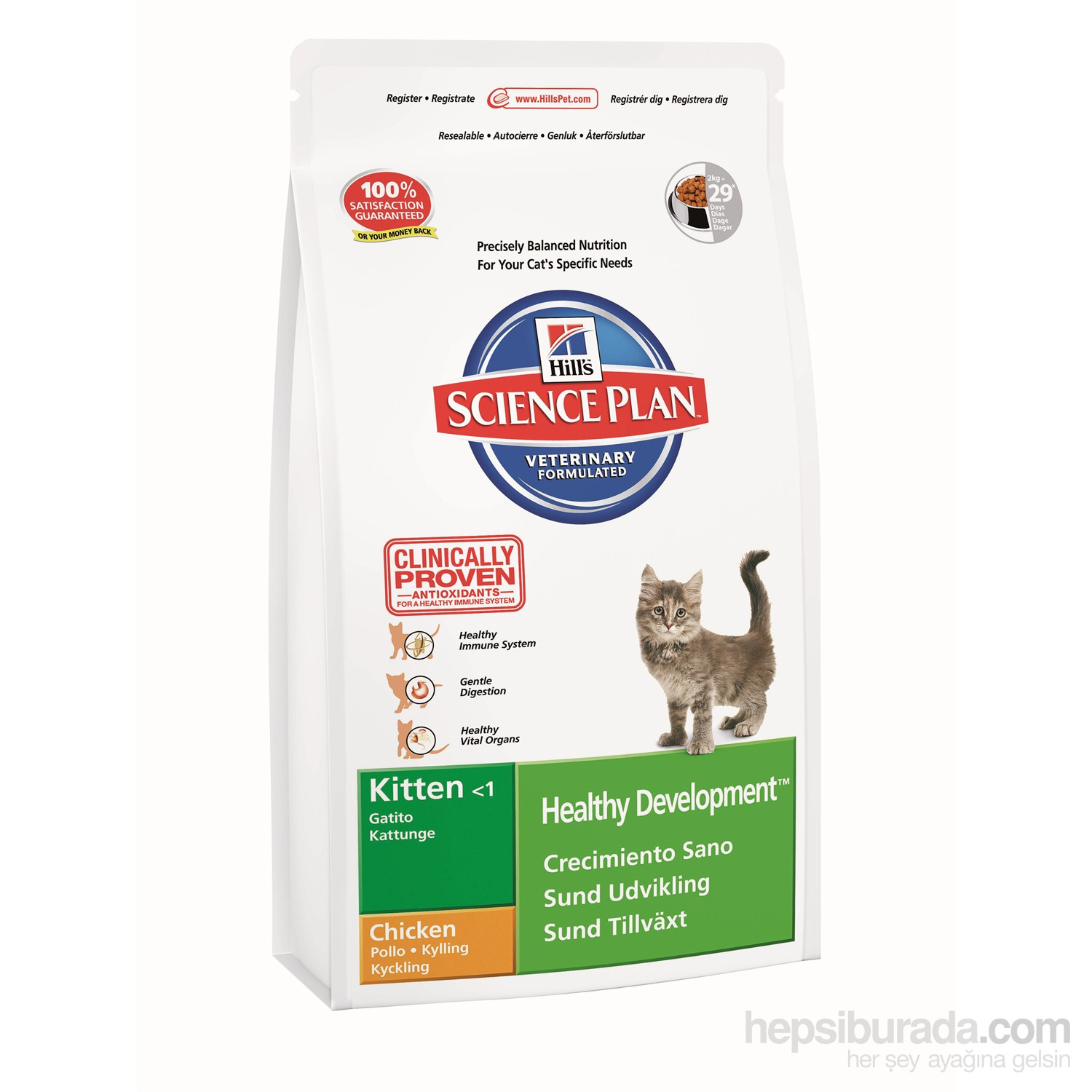 Hill's Science Plan Tavuklu Yavru Kedi Maması 2 Kg (Kitten Healthy Development with Chicken)