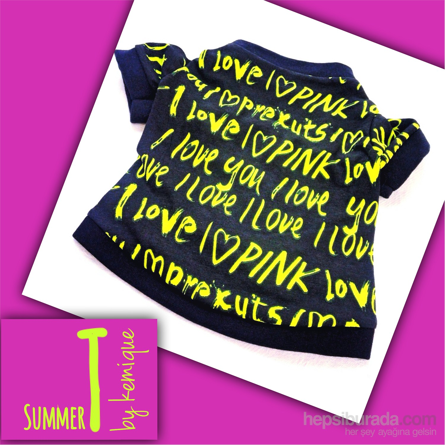 Sarı I Love Tişört - Summer T By Kemique