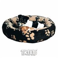 Pet Yatağı Sammy 70 cm Pati Desenli Siyah-Bej