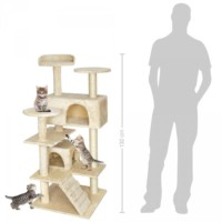 132Cm Lüks Kedi Tırmalama Ve Aktivite Merkezi-Siyah