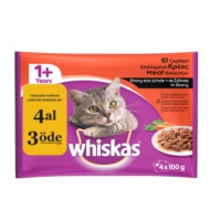 Whiskas Pouch Multipack Etli Çeşitli yaş kedi maması 100 Gr fd*
