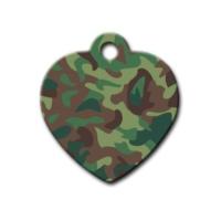 Dalis Pet Tag - Yeşil Kamuflaj Desenli Kalp Kedi Köpek Künyesi