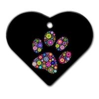 Dalis Pet Tag - Pati Desenli Geniş Kalp Kedi Köpek Künyesi