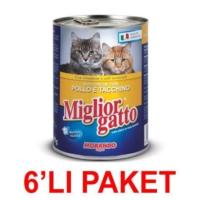 Miglior Gatto Tavuklu Ve Hindili Kedi Konservesi 405 Gr (6'li Paket)