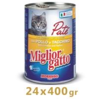 Miglior Gatto Tavuklu Hindili Pate Kedi Konservesi 400 Gr (24 Adet)