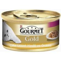 Gourmet Gold Soslu Hindili Ve Ördekli Yetişkin Kedi Konservesi 85 Gr