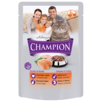 Champion 24 Adet Tavuklu Hindili Poşet Yaş Mama 100 Gr