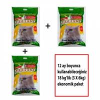 ODORLESS Ekstra Kedi Kumu Yıllık Paket 3 X 6 kg