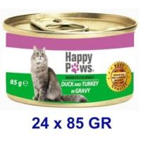 Happy Paws Duck And Turkey İn Gravy Ördek Etli Ve Hindi Soslu Yetişkin Kedi Konservesi 80 Gr (24 Adet)