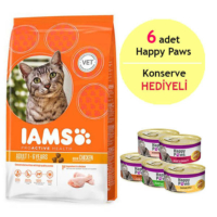 Iams Rich İn Chicken Tavuklu Yetişkin Kedi Maması 1.5Kg - 6 Adet Happy Paws Kedi Konservesi