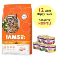 Iams Rich İn Chicken Tavuklu Yetişkin Kedi Maması 3Kg - 12 Adet Happy Paws Kedi Konservesi