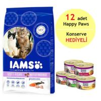 Iams Multi-Cat Households Norveç Somonlu Ve Tavuklu Yetişkin Kedi Maması 3Kg - 12 Adet Happy Paws Kedi Konservesi
