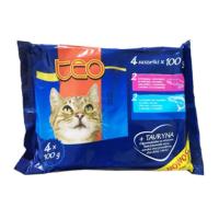Teo Pouch Kedi Konservesi 4'lü Paket 4 x 100 Gr ( 2XSomon - 2Xalabalık )