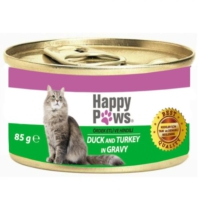 Happy Paws Duck and Turkey in Gravy Ördek Etli ve Hindi Soslu Yetişkin Kedi Konservesi 80 Gr.