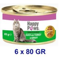 Happy Paws Duck and Turkey in Gravy Ördek Etli ve Hindi Soslu Yetişkin Kedi Konservesi 80 Gr. (6 Adet)