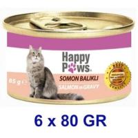 Happy Paws Salmon in Gravy Somon Balıklı ve Soslu Yetişkin Kedi Konservesi 80 Gr. (6 Adet)