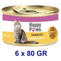 Happy Paws Chicken in Gravy Tavuk Etli ve Soslu Yetişkin Kedi Konservesi 80 Gr.(6 Adet)