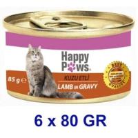 Happy Paws Lamb in Gravy Kuzu Etli ve Soslu Yetişkin Kedi Konservesi 80 Gr. (6 Adet)