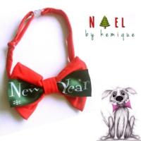 Kırmızı Newyear Köpek Papyonu - Noel By Kemique