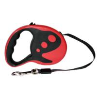 Dog Leash Desenli Otomatik Şerit Tasma Kırmızı 3m
