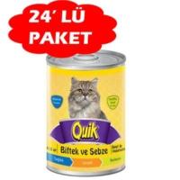 Quik Biftekli Ve Sebzeli Konserve Kedi Mamasi 415 Gr(24 Adet)