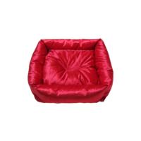 Smart Kare Puff Küçük Irk Köpek Yatağı Kırmızı 55X55 Cm