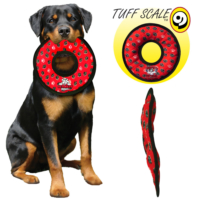 Tuffy Ultimate Ring Red Paw Pati Desenli Peluş Halka Şeklinde Köpek Oyuncağı Kırmızı