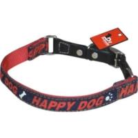 Dr.Sacchi Kot Kumaşı Desenli(Happy Dog) Köpek Boyun Tasması 1,5 X 45 Cm Kırmızı