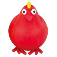 Lastik Tavuk Figürlü Köpek Oyuncağı (Kırmızı) 10 Cm