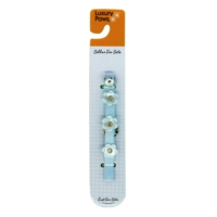 Luxury Paws Kedi Boyun Tasması Çiçek Desenli Mavi 10Mm-32Cm