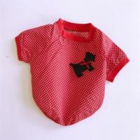 Kırmızı Sevimli Köpek- Oval Yaka Tişört - Summer T By Kemique - Köpek Kıyafeti - Köpek Elbisesi