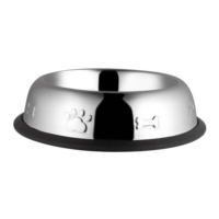 Oripet Oval Çelik Kedi Ve Köpek Mama Kabı Kabartma Desenli 8 Oz