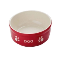 Nobby Dog Seramik Mama Kabı Kırmızı/Bej 12Cm 68765