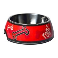 Rogz Kırmızı Kemik Desenli Melamin/Çelik Kedi Köpek Mama Kabı Small 160 Ml
