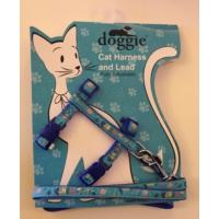 Doggie Etiketli Dokuma Kedi Göğüs Gezdirme Takımı No:3 Mavi