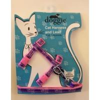 Doggie Etiketli Dokuma Kedi Göğüs Gezdirme Takımı No:3 Pembe
