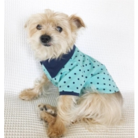 Kemique Mavi Yeşil Puantiyeli - Polo Yaka Tişört - Summer Köpek Elbisesi