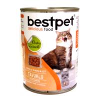 Bestpet Soslu Parça Tavuk Etli Konserve Yetişkin Kedi Maması 415 Gr