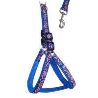 Lovely Dog Love Baskılı Gögüs Tasması Ve Uzatması 120Cm Mavi