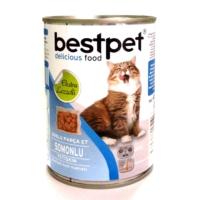*Bestpet Soslu Parça Etli Somonlu Konserve Yetişkin Kedi Maması 415 gr