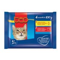 Teo Pouch Kedi Konservesi 4'lü Paket 4x100 Gr ( 2xTavuk - 2xBiftek )