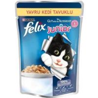 Felix Yavru Kediler İçin Tavuklu Yaş Kedi Maması Pounch 48X100 gr