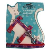 Doggie Gülücük Kedi Göğüs Tasması 22/36 cm Kırmızı