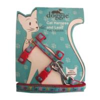 Doggie Patili Kedi Göğüs Tasması 22/36 cm Kırmızı